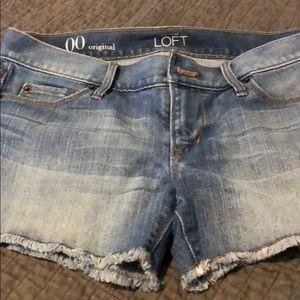 Ann Taylor Loft frayed denim shorts